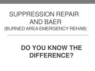 Suppression REPAIR     and BAER (burned Area Emergency Rehab)