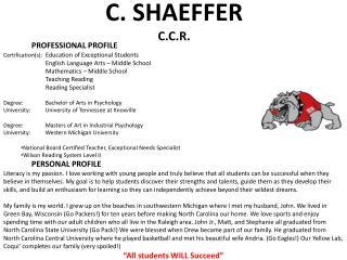C. SHAEFFER C.C.R.