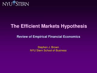 The Efficient Markets Hypothesis