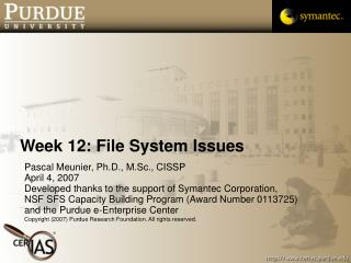 Week 12: File System Issues