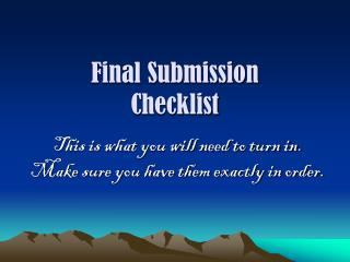 Final Submission  Checklist