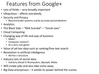 Features from Google+