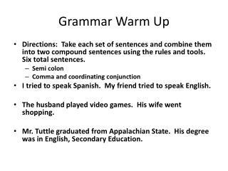 Grammar Warm Up