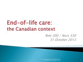 End-of-life care: the Canadian context