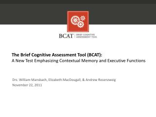 The Brief Cognitive Assessment Tool (BCAT):