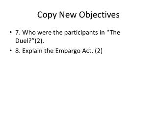 Copy New Objectives
