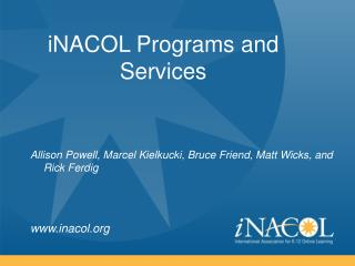 iNACOL Programs and Services