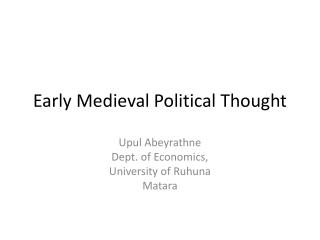 Early Medieval Political Thought