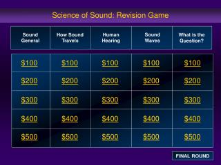 Science of Sound: Revision Game