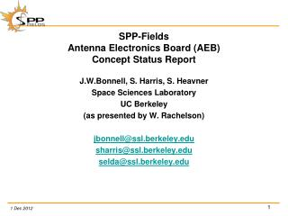 SPP-Fields  Antenna Electronics Board (AEB) Concept Status Report