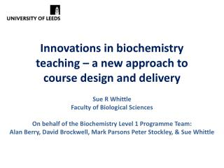 Innovations in biochemistry teaching – a new approach to course design and delivery