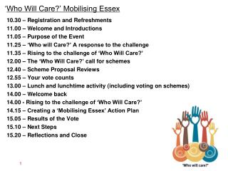' Who Will Care?' Mobilising Essex