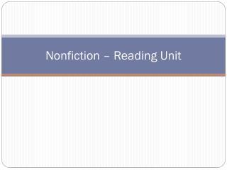Nonfiction – Reading Unit