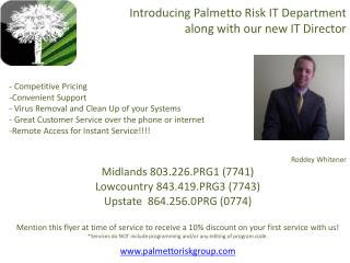 Introducing  Palmetto  Risk IT Department                   along with our new IT Director