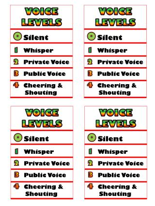 0 Silent 1 Whisper 2 Private Voice 3 Public Voice 4 	Cheering & Shouting