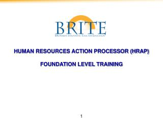 HUMAN RESOURCES ACTION PROCESSOR HRAP   FOUNDATION LEVEL TRAINING