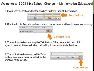Welcome to EDCI 646: School Change in Mathematics Education!