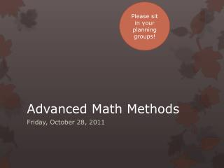 Advanced Math Methods