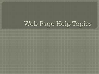 Web Page Help Topics