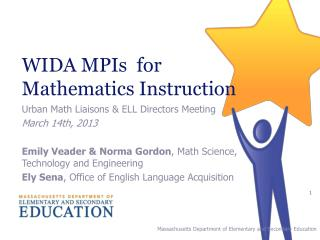 WIDA MPIs  for  Mathematics Instruction
