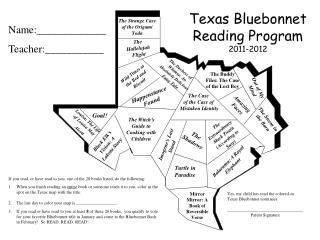Texas Bluebonnet  Reading Program 2011-2012