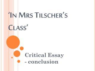 'In Mrs Tilscher's Class'