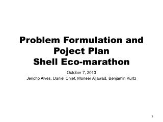 Problem Formulation and Poject Plan Shell Eco-marathon