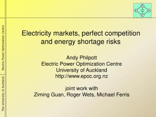 Electricity markets, perfect  competition and energy shortage risks