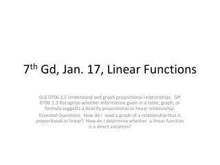 7 th Gd , Jan.  17,  Linear Functions
