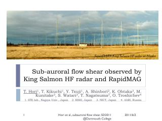 Sub- auroral  flow shear observed by King Salmon HF radar and  RapidMAG