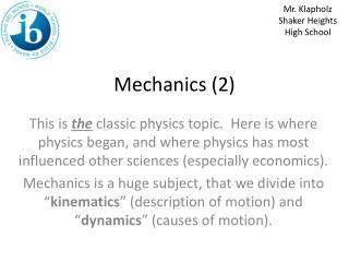Mechanics (2)
