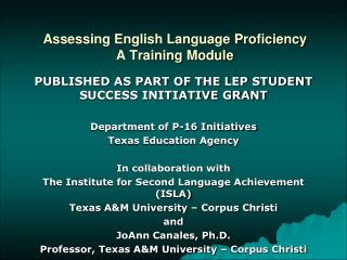 Assessing English Language Proficiency A Training Module