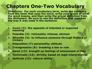 Chapters One-Two Vocabulary
