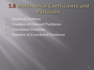 5.8  Multinomial Coefficients and Partitions