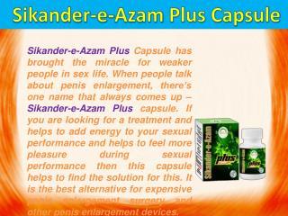 Sikander-e-azam plus capsule