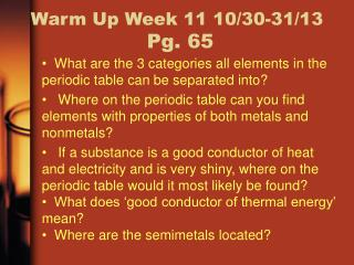 Warm Up Week  11 10/30-31/13  Pg.  65