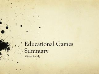 Educational Games Summary