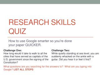 Research  Skills Quiz