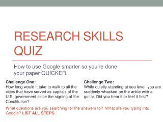 Research  Skills Quiz