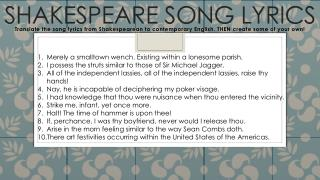 Shakespeare Song Lyrics