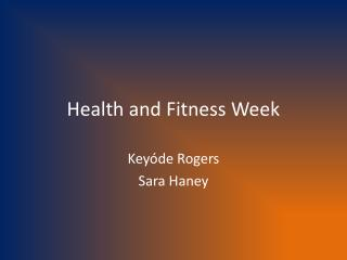 Health and Fitness Week