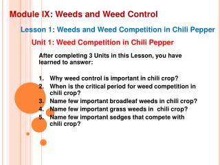 Module IX: Weeds and Weed Control