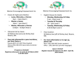Women Encouraging Empowerment Inc.  Clases  de Ingles  para Adultos :