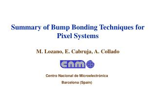 Summary of Bump Bonding Techniques for Pixel Systems