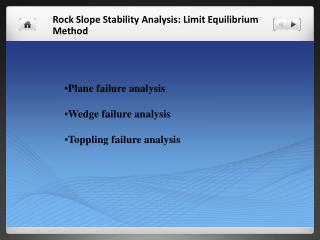 Rock Slope Stability Analysis: Limit Equilibrium Method