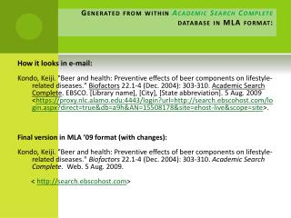 Generated from within  Academic Search Complete database in MLA format: