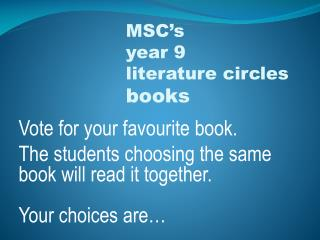 Vote for your favourite book.
