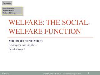Welfare: The Social-Welfare Function