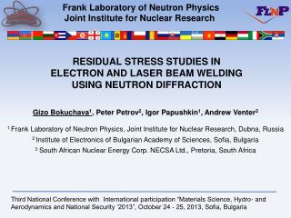 Frank Laboratory of Neutron Physics Joint Institute for Nuclear Research