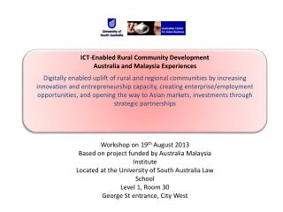 ICT-Enabled Rural Community Development Australia and Malaysia Experiences